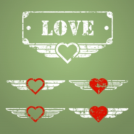 Military style love grunge emblems with hearts, wings and text box Vector