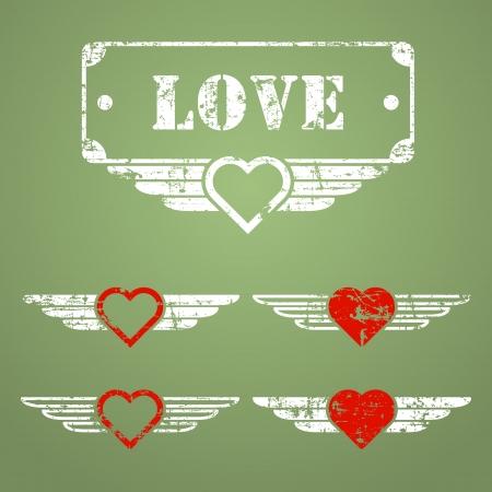 Stile militare amore grunge emblemi con i cuori, ali e casella di testo