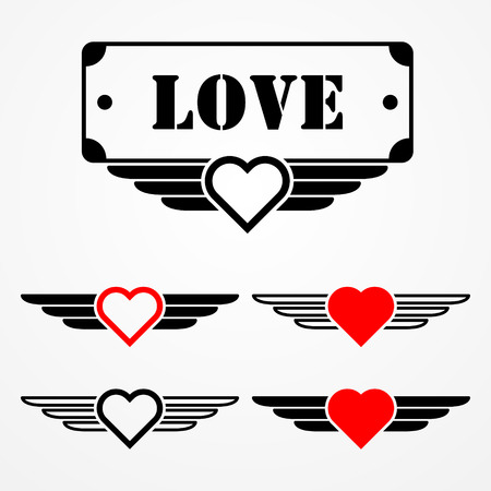 Military style love emblems with hearts, wings and text box