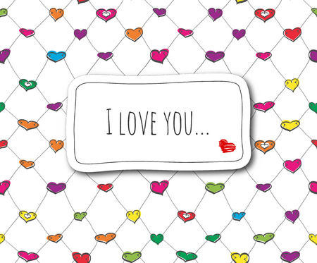 Sketch love card on seamless colorful net pattern Vector