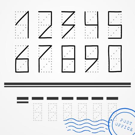 Numeri di codice di avviamento postale disegnati a mano con il blu timbro postale Vettoriali