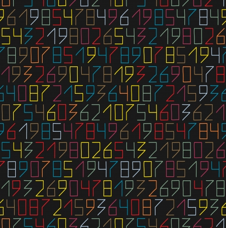 Hand drawn numbers seamless pattern in flat neon colors Vector