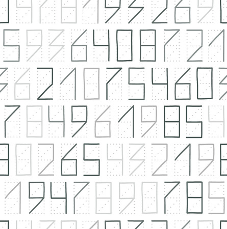 Zip code numbers seamless pattern in gray colors Vector