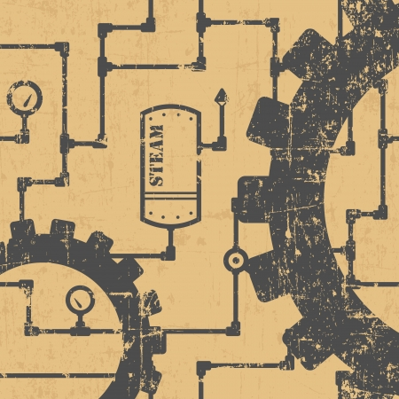 Abstract steampunk industrial pattern with pipes and gearwheels Ilustração