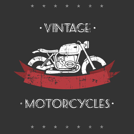 Flat looking grunge emblem with classic motorcycle and red ribbon