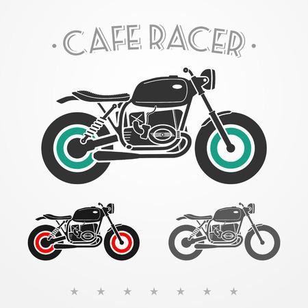 Set di tre motociclette piatte in cerca d'epoca nei colori grigi