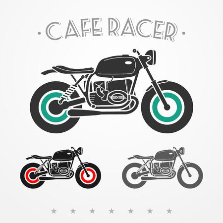 old motorcycle: Set of three vintage flat looking motorcycles in gray colors Illustration