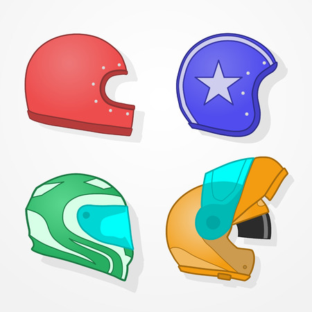 Set of four hand drawn motorcycle helmets, retro and modern Vector