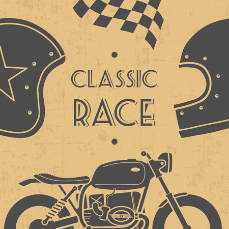 racer flag: Old paper grunge emblem with classic motorcycle and helmets Illustration