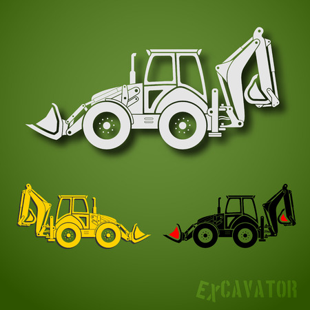 Set of three excavator emblems in white, black and yellow colors Vector