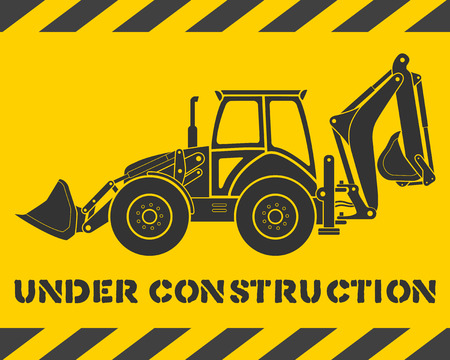 Yellow under construction pattern with gray excavator silhouette Vector
