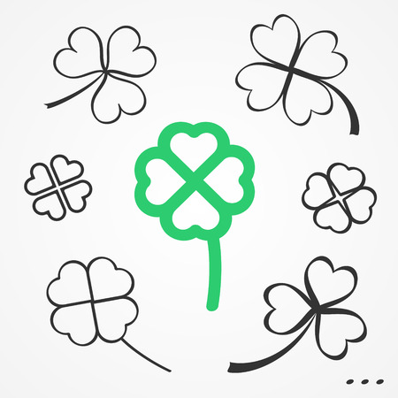 three leaf clover: St. Patricks Day set of sketchy flat clovers
