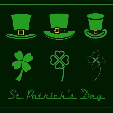 St. Patricks Day set of hats and clovers Vector
