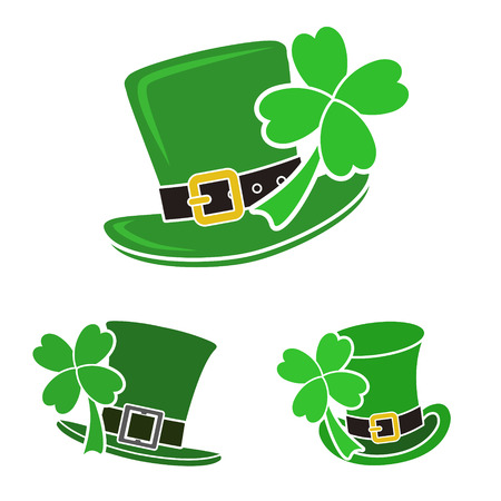 St. Patricks Day set of three hats with clovers