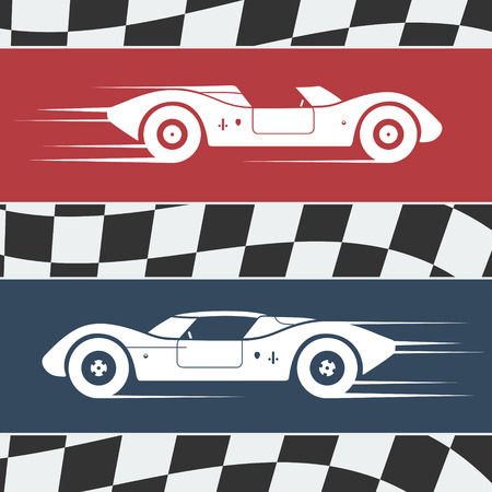 rally: Two fast moving vintage race cars on checkered flag background