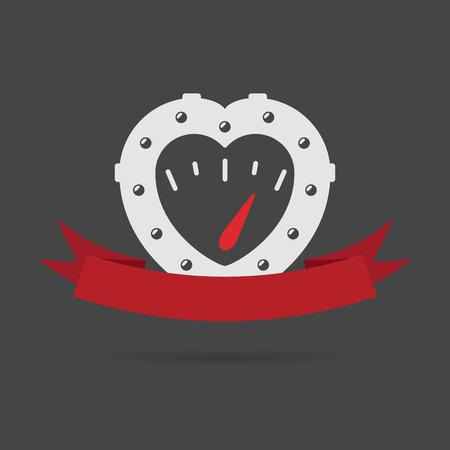 Cuore semplice emblema in stile steampunk con manometro all'interno e nastro rosso
