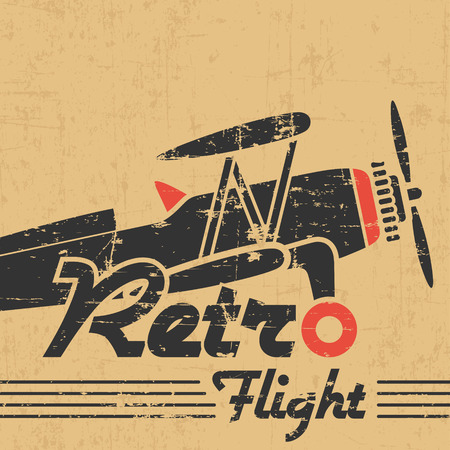 biplane: Retro plane emblem, gray grunge silhouette and text on old paper