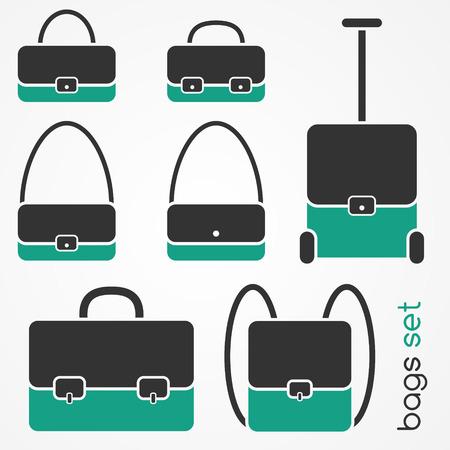 Set of flat bag icons: handbag, shoulder bag, briefcase, backpack, travel suitcase Vector