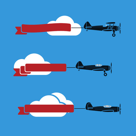 airplane cartoon: Three flat looking planes in the sky with ribbons and clouds Illustration