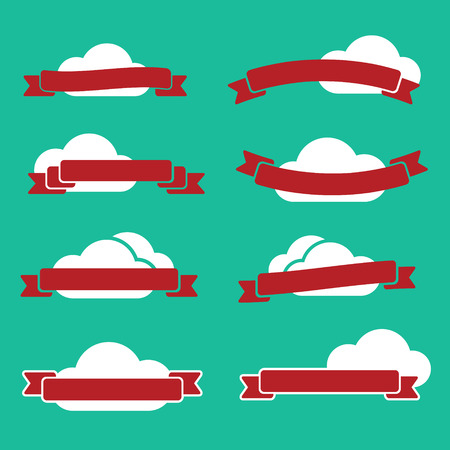 Flat emblems set made of red ribbons and white clouds