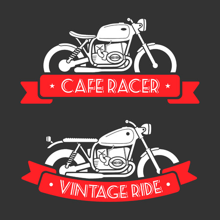 Flat looking emblems with classic motorcycles and red ribbons