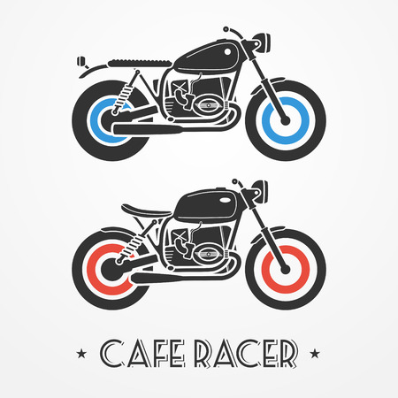 Two vintage flat looking motorcycles in gray colors Vector