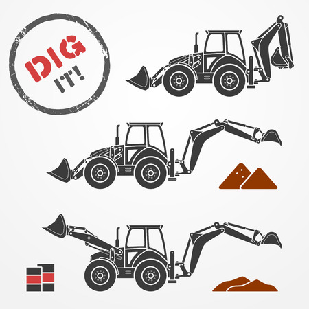 Three gray excavator silhouettes with dirt and barrels Vector