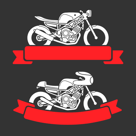 motor bike: Flat looking emblems with classic motorcycles and red ribbons