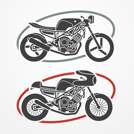 fork in the road: Two flat looking motorcycles in gray colors, modern and retro