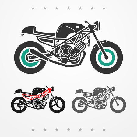 Set di tre moderne moto piatti cercando nei colori grigi Vettoriali