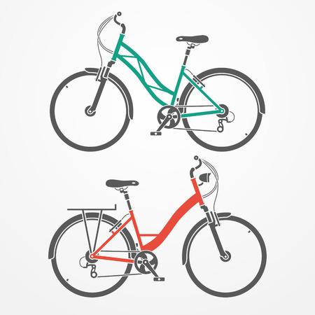 Due piatti biciclette Guardare citt� nei colori grigio, rosso e ciano Vettoriali