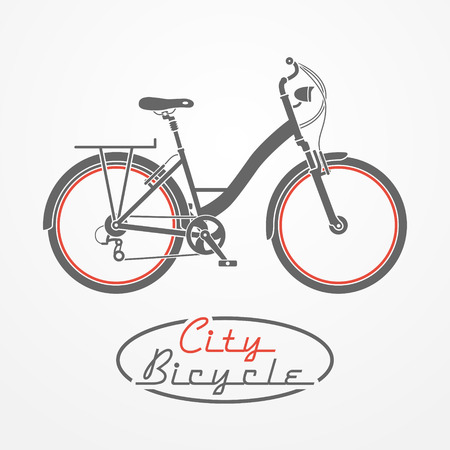 Flat graphic emblem with city bicycle and oval stamp