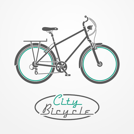 Flat graphic emblem with city bicycle and oval stamp Vector