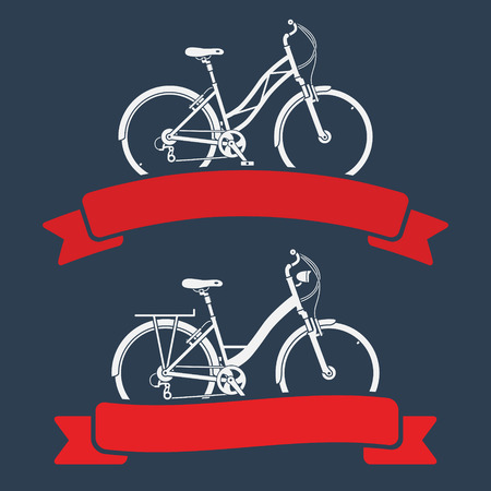 Two graphic emblems with city bicycles and red ribbons Vector