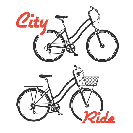 Two flat looking city bicycles in gray colors Vector