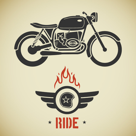 cartoon biker: Vintage flat looking motorcycle and emblem with helmet, wings and flame