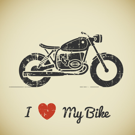 Vintage grunge flat looking motorcycle and text on beige background