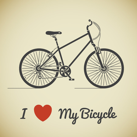 Flat graphic city bicycle and text on beige background Vector