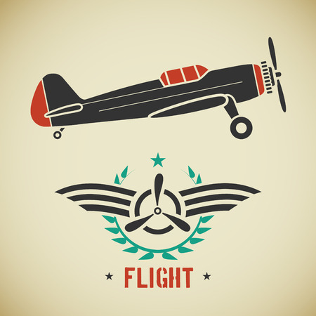 Retro flat looking plane and emblem with wings and propeller
