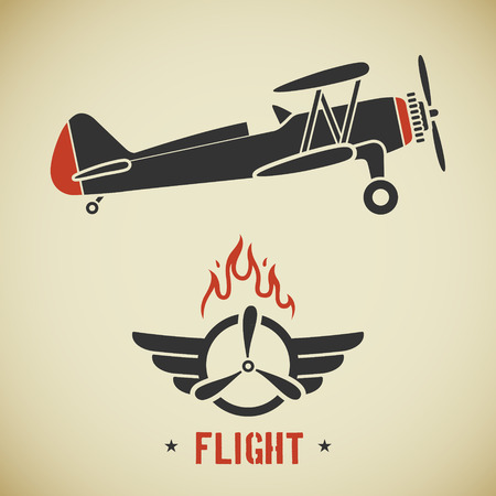 propeller: Retro flat looking plane and emblem with wings, flame and propeller