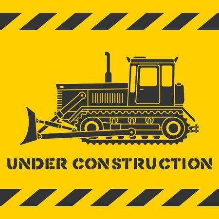 Grunge yellow under construction pattern with gray bulldozer silhouette