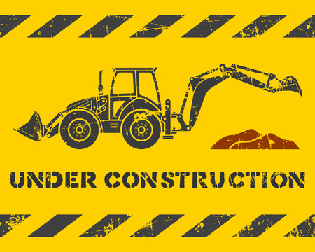 Grunge yellow under construction pattern with gray excavator silhouette Vector