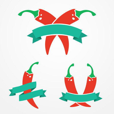 Three flat emblems with red chili peppers and ribbons Vector