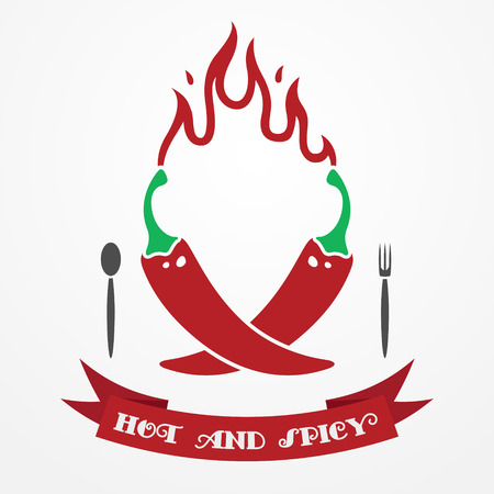 cayenne pepper: Big flat restaurant emblem with red chili peppers, flame and ribbon