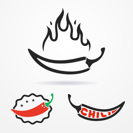 chili: Three flat emblems with red chili peppers and flame Illustration