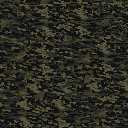 Typical seamless camouflage pattern in dark green colors Vector