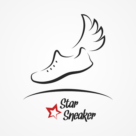 soccer shoes: Hand drawn sketchy with stylized shoe, wing and star