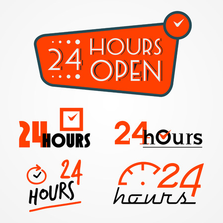 24 hours: Collection of 24 hours labels in orange colors decorated with clocks