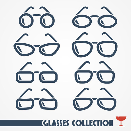Collection of typical glasses of different shapes - web icons