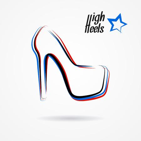 Disegnato abbozzato con scarpe tacco alto stilizzato mano Vettoriali